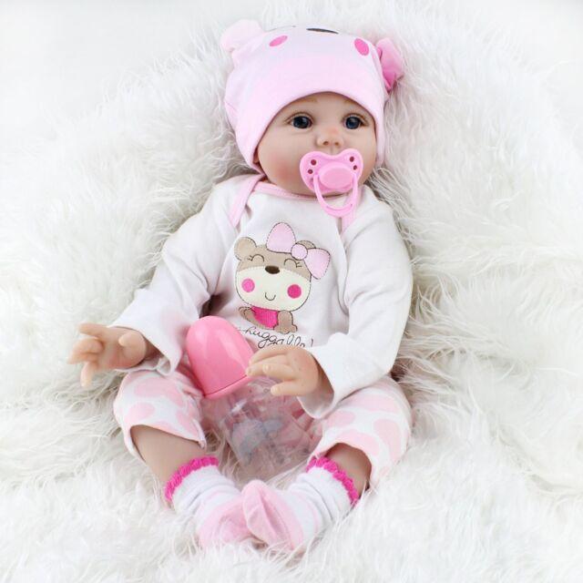 22/'/' Lifelike Reborn Baby Girl Dolls Full Body Silicone Handmade Cute Doll Gift