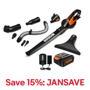 WORX WG545.4 AIR 20V PowerShare 4.0 ah Cordless with Attachments and Bag