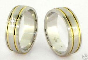 Luxus-Eheringe-Trauringe-585-Gold-Bicolor-Gelb-amp-Weissgold-14-Kt-Massiv