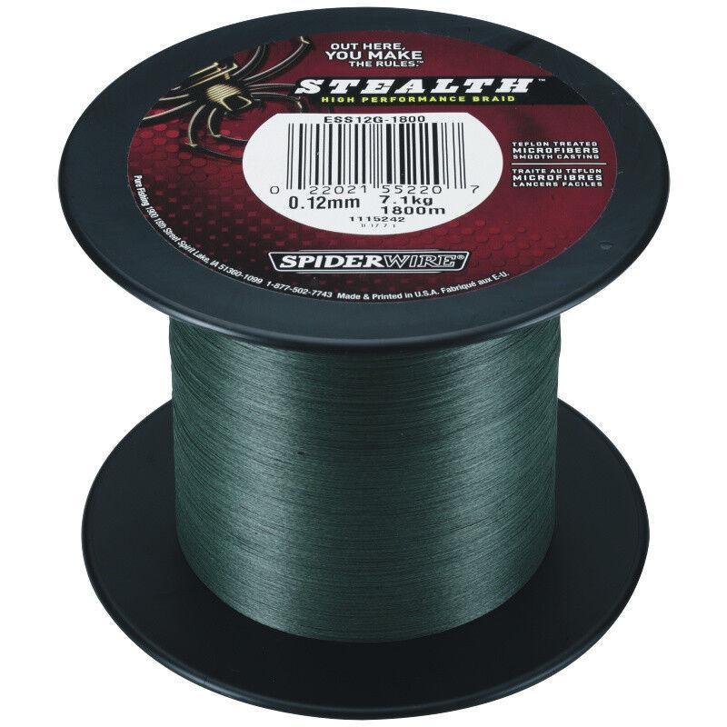 Spiderwire Stealth Green 0,25mm 3000M 18,92Kg Geflochtene Angel Schnur Grün Sha