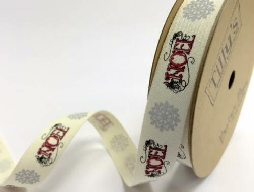 Tilly/'s Trims Vintage Cotton Christmas Ribbon on 5m /& 25m Rolls BY BERTIE/'S BOWS