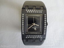 SWATCH SQUARE MONTRE BRACELET CUIR NOIR STRASS FEMME CRUSH ON YOU SUBB103 WATCH