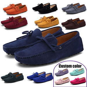 Hot-US7-12-Men-039-s-Loafers-Driving-Moccasins-casual-soft-suede-leather-penny-Shoes