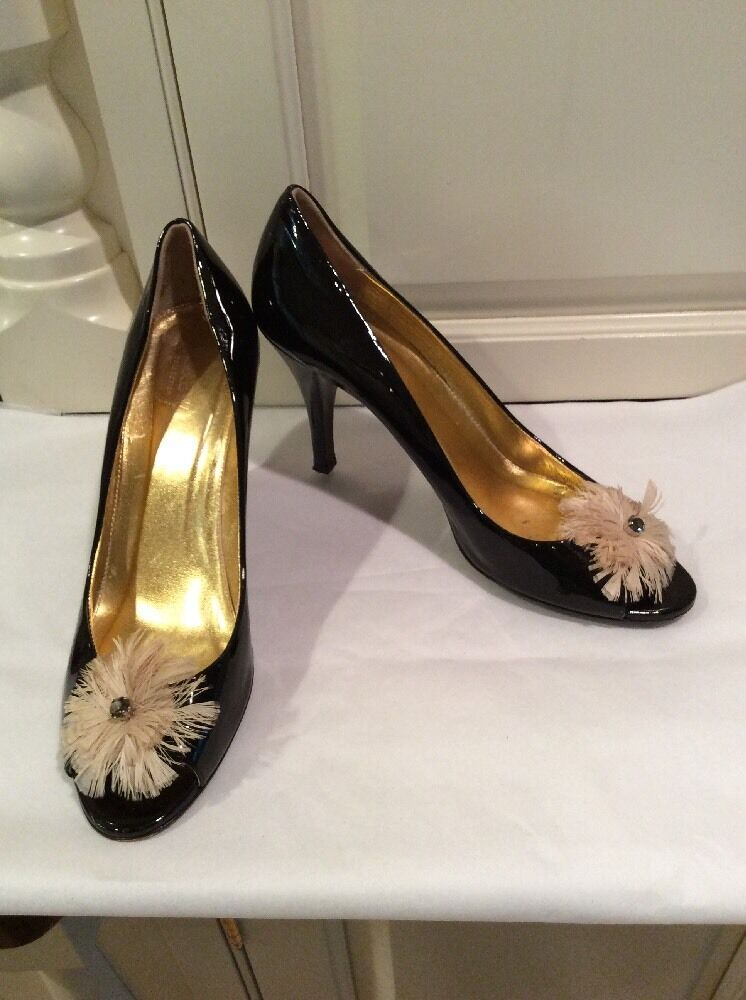 J Crew Collection Black Patent Heels Size 9.5  Feather /Rhinestone Trim. Nice!