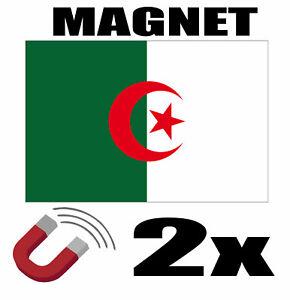 2 X Algerie Drapeau Magnet 6x3 Cm Aimant Déco Algerie Magnétique Frigo
