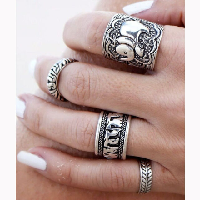 4PCS Silver Punk Vintage Elephant Ring Set Womens Retro Finger Rings Boho Style