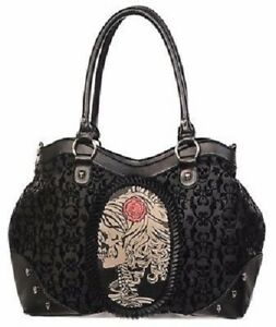 Banned Black Vintage Style Ivy Cameo Skull Purse Wallet Faux Leather Goth New