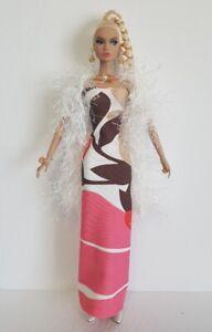 OOAK-Poppy-Parker-Clothes-BOA-DRESS-and-JEWELRY-Handmade-Fashion-NO-DOLL-d4e