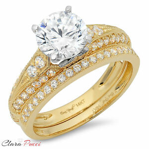 2-32-CT-Round-Cut-AAAAA-CZ-Engagement-Bridal-Ring-band-set-Multi-925-Silver