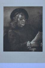 Rembrandt van Rijn ( 1606 - 1669) - Der singende Jüngling Gravure 49 X 37 cm