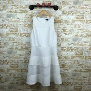 Ann-taylor-White-laser-cut-fit-amp-flare-dress-womens-size-8
