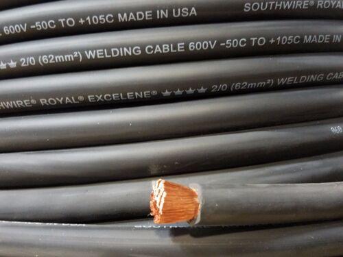 2//0 EXCELENE WELDING BATTERY CABLE BLACK 600V USA 105c EPDM JACKET 75/' ft