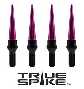 Details about 20 TRUE SPIKE 14X1 5MM 33MM SHANK STEEL LUG NUT BOLTS W/ PINK  EXTENDED SPIKES