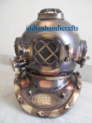 "Antiques Cooperative Navy Recreata Brass Marine Scuba Steel18"" Diving Diver's Helmet Gift In Short Supply"