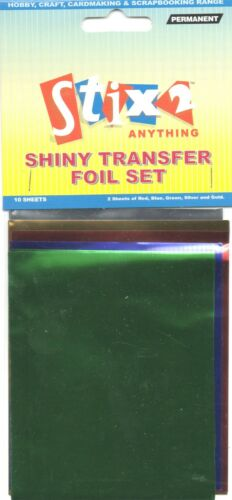 10 SHEETS TRANSFER FOILS ASSORTED COLOURS RED BLUE GREEN SILVER /& GOLD S57067