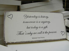 #2 100/% Solid Wood Shabby Chic Winnie The Pooh Quote Sign Wedding Gift Plaque