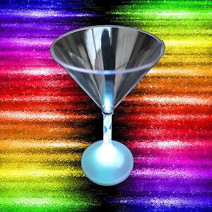 LED Light Up FLASHING MARTINI COCKTAIL GLASSES Multi Color Luau Tiki Bar-4pc SET