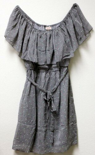 Mossimo Chiffon Bunny Print Sleeveless Ruffle Gray Dress $25 Retail NEW w TAGS