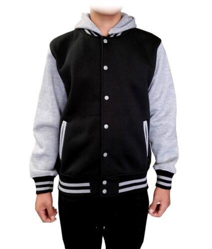 NEW MEN NIKO PLAIN BASEBALL HOOD JACKET Hooded Hoodie Sweat Shirt BLACK-GREY
