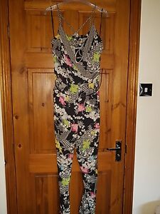 OASIS-BLACK-PATTERNED-JUMPSUIT-WITH-WAIST-BELT-UK-12-EUR-38-NEW-WITH-TAG-RRP-55
