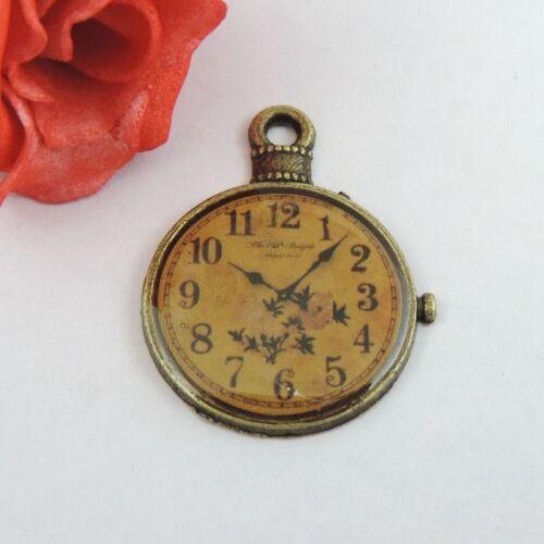 6 pcs Vintage Bronze Alloy Clock Shaped Pendants Charms Jewelry Craft 32x25x2mm