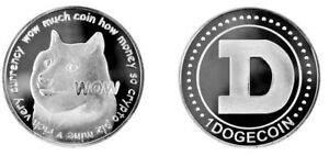 Physical Dogecoin Coin Doge Brass Silver-Colored Metal Round Token Crypto