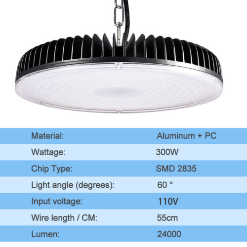 1 X 300W LED High Bay//Low Light Chain Mount Cool White Gym Industrial Lighting
