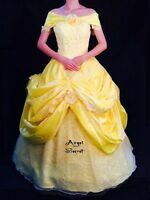 P132 Belle COSPLAY Dress Princess Tiana Costume tailor made kid adult GOWN