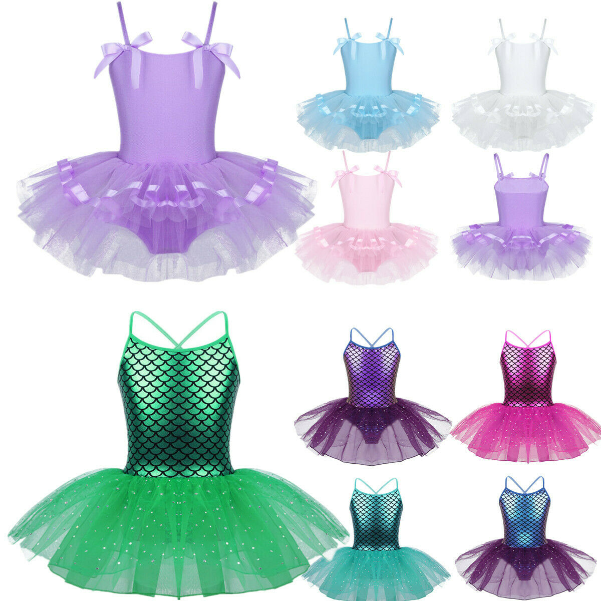 Kids Girls Mermaid Ballet Dance Tutu Dress Glitter Gymnastic Leotard Costume
