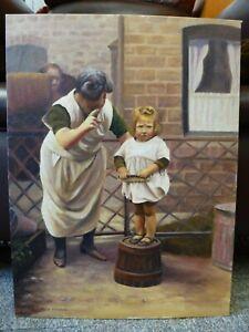 Original-oil-painting-Doreen-Tricker-Northern-Art-1920s-Social-History-Backyard
