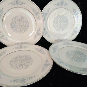 """OXFORD LENOX BRYN MAWR 4 DINNER PLATES W. PLATINUM RIM 10""""5/8 USA MINT"""