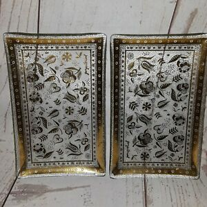 Vintage  Rectangle tray vanity Gold Floral Glass Plates set of 2 G