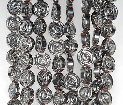 10MM SILVER HEMATITE GEMSTONE ROSE FLOWER CARVED 10MM LOOSE BEADS 16/""