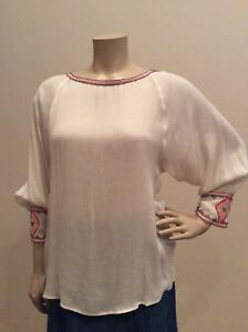 7bcd29a221e664 Image is loading womens-clothing-tops-blouses-White-Chiffon-Aztec-Blouse-