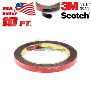 Genuine 3M VHB #5952 Double-Sided Mounting Foam Tape Automotive Car 2mmx10FT