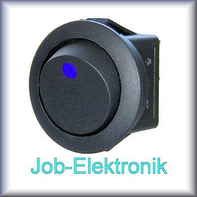 Wippschalter 1-polig schwarz beleuchtet LED blau 12V / 16A Schalter Kippschalter