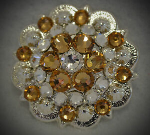 Handcrafted Crystal Berry Concho ~ Tan, Beige or Light Brown Swarovski Elements