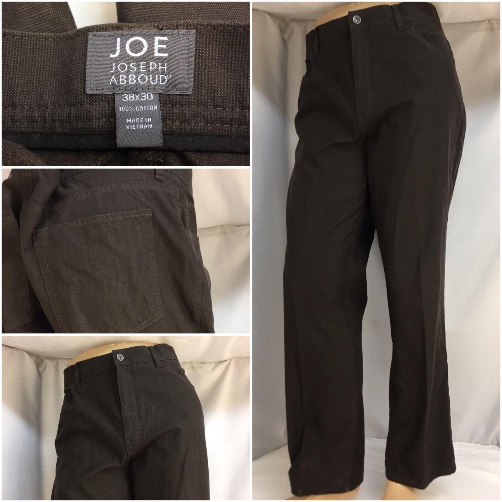 Joseph Abboud Joe Pants 38x30 Brown 100% Cotton Flat Front NWOT YGI 2857