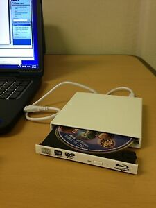 White usb external blu ray combo drive cd/dvd burner 2x bd.