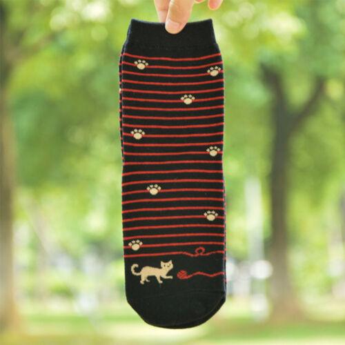 Cartoon Cat Design Women Cotton Socks Lady Stripe Sock Winter Autumn Soft Socks