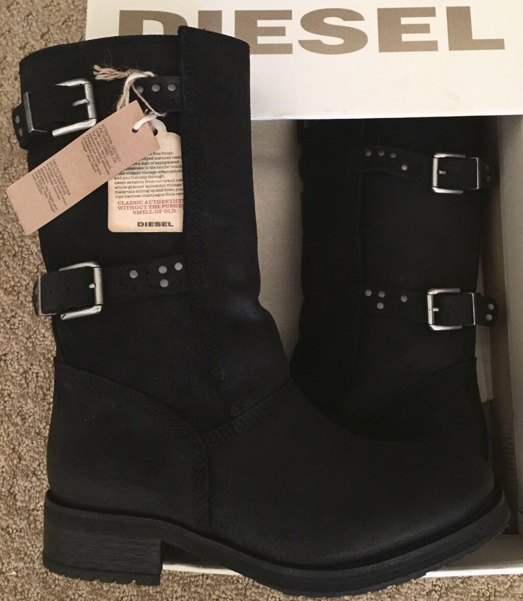 NWT WOMEN DIESEL SIOUXY BLACK BUCKLE Stiefel LEATHER SUEDE OILED MOTORCYCLE Stiefel BUCKLE 7.5 78e869
