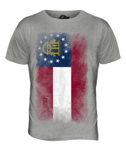 GEORGIA STATE FADED FLAG MENS T-SHIRT TEE TOP GEORGIAN SHIRT JERSEY GIFT