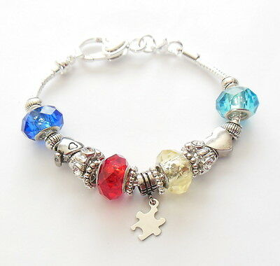 Autism Awareness Bracelet Puzzle Piece Charms Crystal Beads Silver 8""