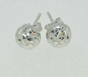 9CT YELLOW GOLD ST CHRISTOPHER 6MM DIAMOND CUT ROUND STUD EARRINGS