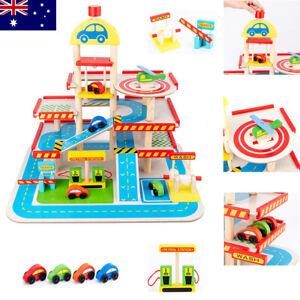 Wooden-Car-Parking-Toy-Set-Garage-Petrol-Gas-Station-Lift-Kids-Pretend-Play-Toy