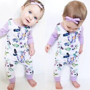 b3e9d99996a Image is loading Newborn-Baby-Girl-Floral-Cotton-Romper-Bodysuit-Jumpsuit-