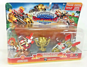 NEW-Skylanders-SUPERCHARGERS-Double-Dare-TRIGGER-HAPPY-Land-Trophy-GOLD-RUSHER