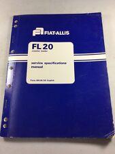 Fiat Allis Fl20 Crawler Loader Service Specifications Manual