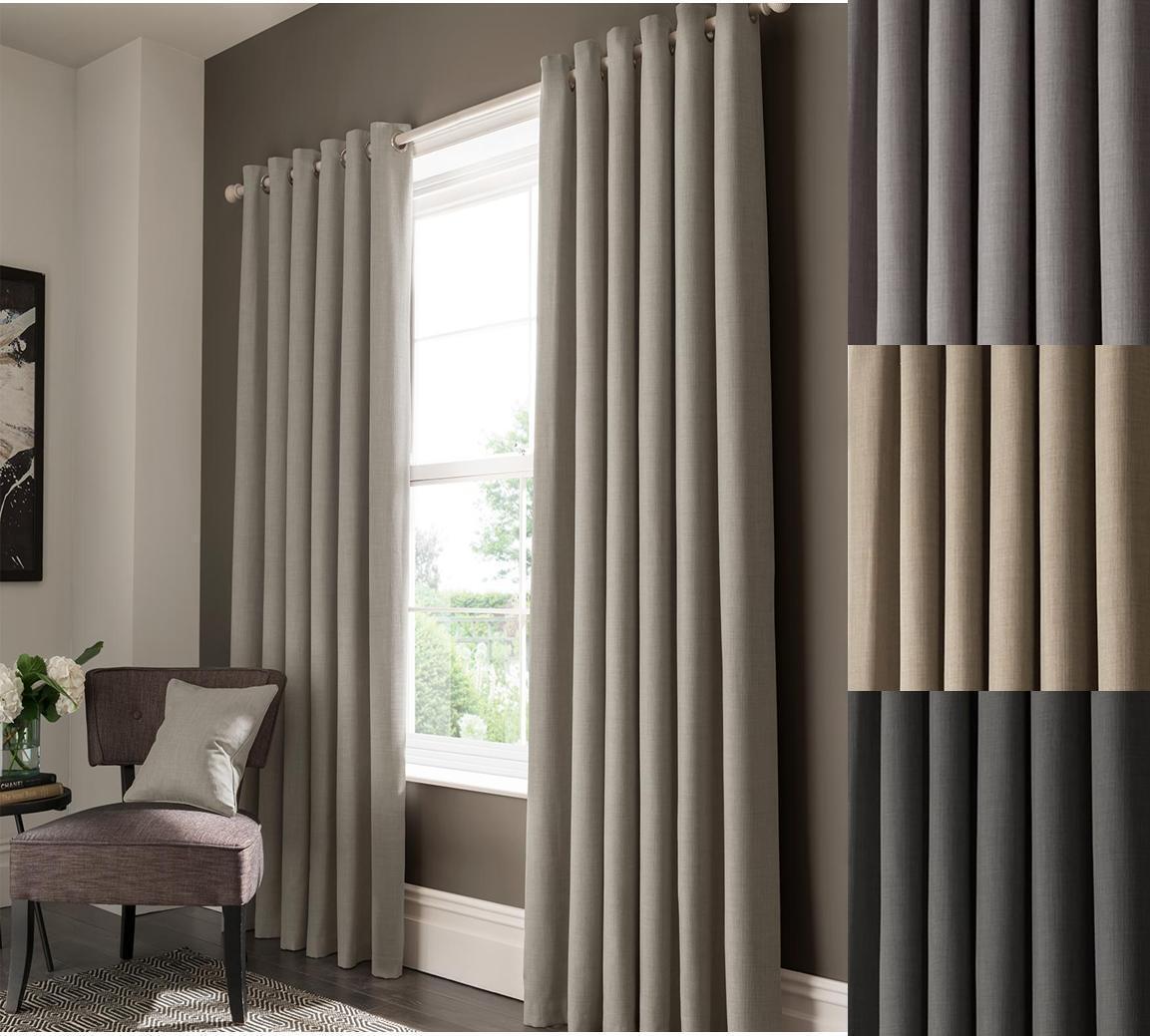 One One One Pair Of STUDIO G Lined Texturot Semi-Plain Elba 3  Pencil Pleat Curtains ce8b20
