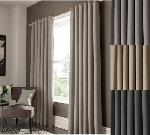 "One Pair Of STUDIO G Lined Textured Semi-Plain Elba 3/"" Pencil Pleat Curtains"